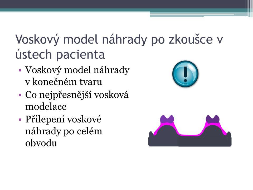 Vytvoření sádrové formy Model náhrady se upevní do spodního dílu kyvety Izolace silikonovou hmotou (reprodukce gingivální modelace) Izolace sádrových ploch Zhotovení horního dílu kyvety