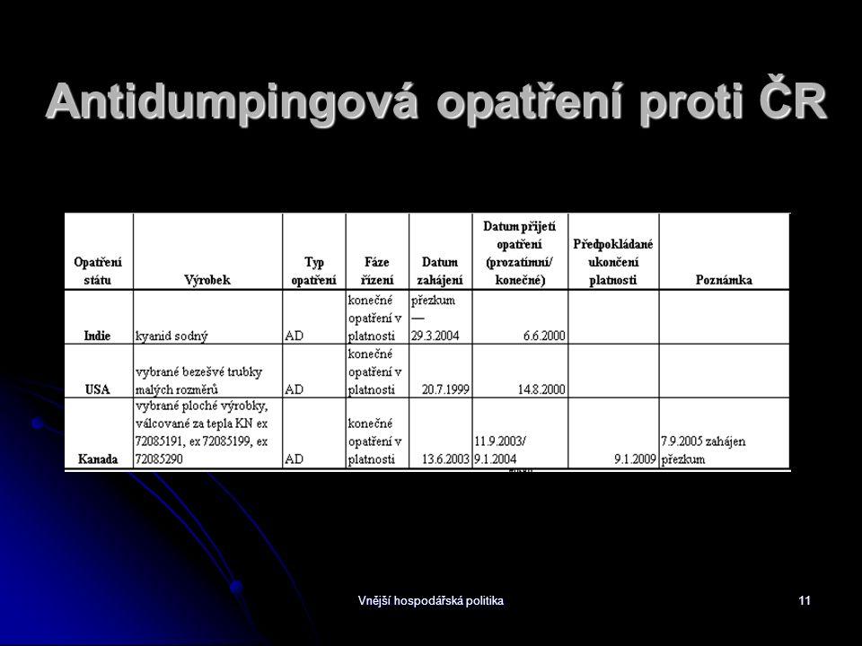 Vnější hospodářská politika11 Antidumpingová opatření proti ČR