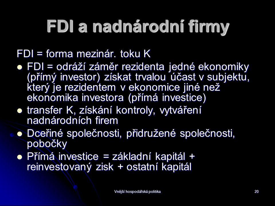 Vnější hospodářská politika20 FDI a nadnárodní firmy FDI = forma mezinár.