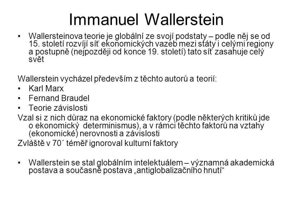 Immanuel Wallerstein Wallersteinova teorie je globální ze svojí podstaty – podle něj se od 15. století rozvíjí síť ekonomických vazeb mezi státy i cel