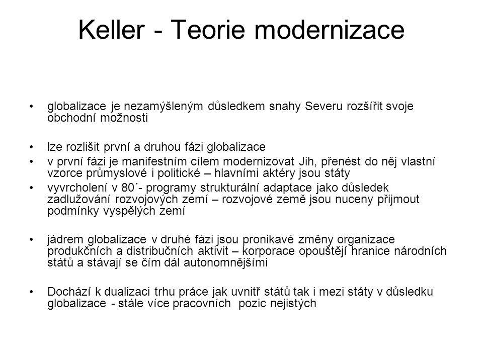 Keller - Teorie modernizace globalizace je nezamýšleným důsledkem snahy Severu rozšířit svoje obchodní možnosti lze rozlišit první a druhou fázi globa
