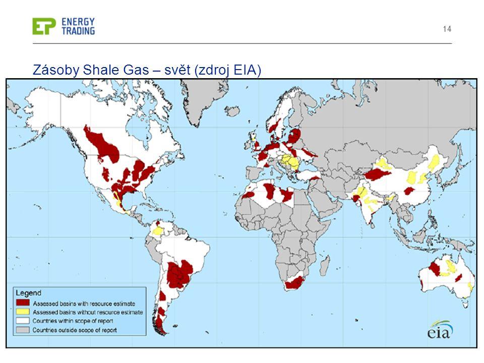 14 Zásoby Shale Gas – svět (zdroj EIA)