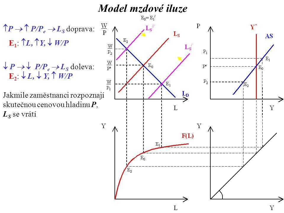  P   P/P e  L S doprava: E 1 :  L,  Y,  W/P  P   P/P e  L S doleva: E 2 :  L,  Y,  W/P Jakmile zaměstnanci rozpoznají skutečnou cenovou hladinu P, L S se vrátí Model mzdové iluze