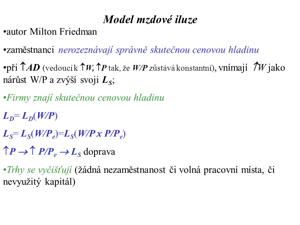 Model mzdové iluze  P   P/P e  L S doprava: E 1 :  L,  Y,  W/P