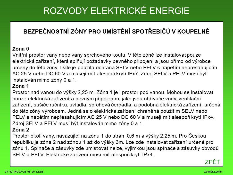 VY_52_INOVACE_05_20_LEZB Zbyněk Lecián ROZVODY ELEKTRICKÉ ENERGIE ZPŮSOBY KLADENÍ VEDENÍ ZPĚT číslozpůsob 1 Pomocí vodičů v trubce pod omítkou (CY) 2 Pomocí kulatých kabelů pod omítkou (CYKY) 3 Pomocí kulatých kabelů v dutinách stěn (CYKY) 4 Pomocí jednotlivých vodičů pod omítkou (CY) 5 Pomocí můstkového vodiče pod omítkou (CYKYLo) 6 Pomocí plochých vodičů pod omítkou 7 Pomocí kabelu na příchytkách po omítce (CYKY) 8 Pomocí vodičů v trubce na příchytkách po omítce (CY) 9 Pomocí vodičů v trubce po omítce (CY) 10 Pomocí kabelu po omítce (CYKY) 11 Pomocí vodičů či kabelů v liště po omítce (CY, CYKY)