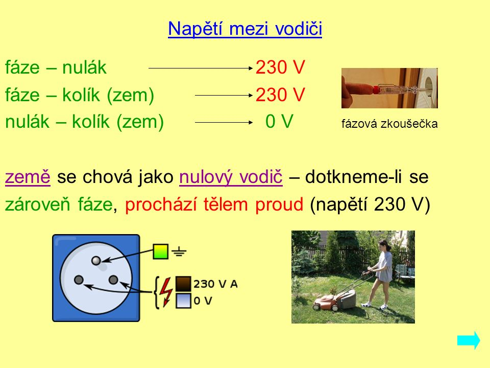 Napětí mezi vodiči fáze – nulák 230 V fáze – kolík (zem) 230 V nulák – kolík (zem) 0 V fázová zkoušečka země se chová jako nulový vodič – dotkneme-li se zároveň fáze, prochází tělem proud (napětí 230 V)