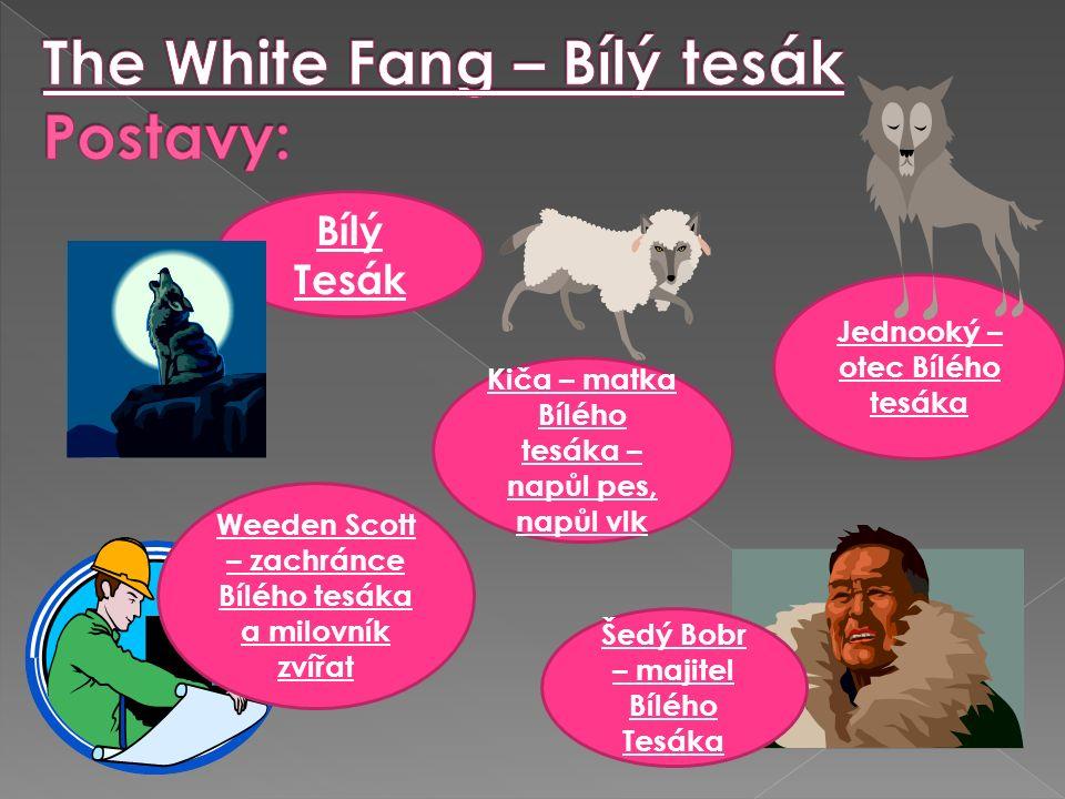 Jednooký – otec Bílého tesáka Bílý Tesák Kiča – matka Bílého tesáka – napůl pes, napůl vlk Šedý Bobr – majitel Bílého Tesáka Weeden Scott – zachránce Bílého tesáka a milovník zvířat
