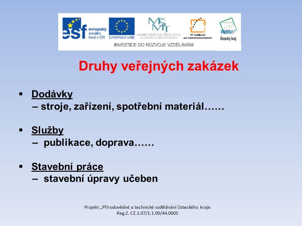 """Projekt """"Přírodovědné a technické vzdělávání Ústeckého kraje Reg.č. CZ.1.07/1.1.00/44.0005 Druhy veřejných zakázek  Dodávky – stroje, zařízení, spotř"""