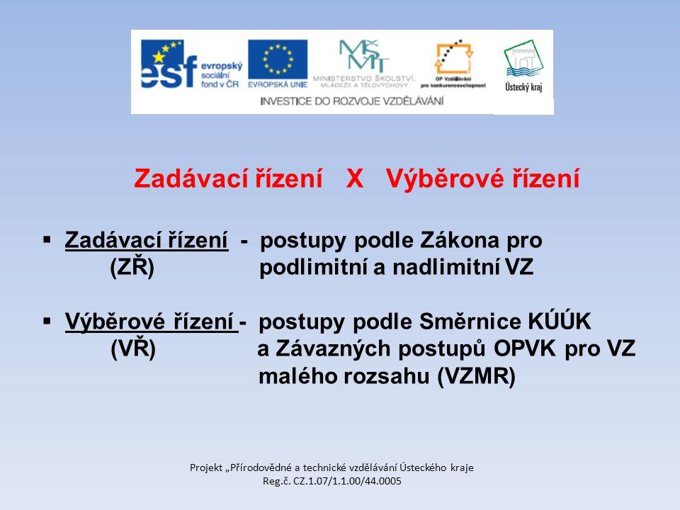 """Projekt """"Přírodovědné a technické vzdělávání Ústeckého kraje Reg.č. CZ.1.07/1.1.00/44.0005 Zadávací řízení X Výběrové řízení  Zadávací řízení - postu"""