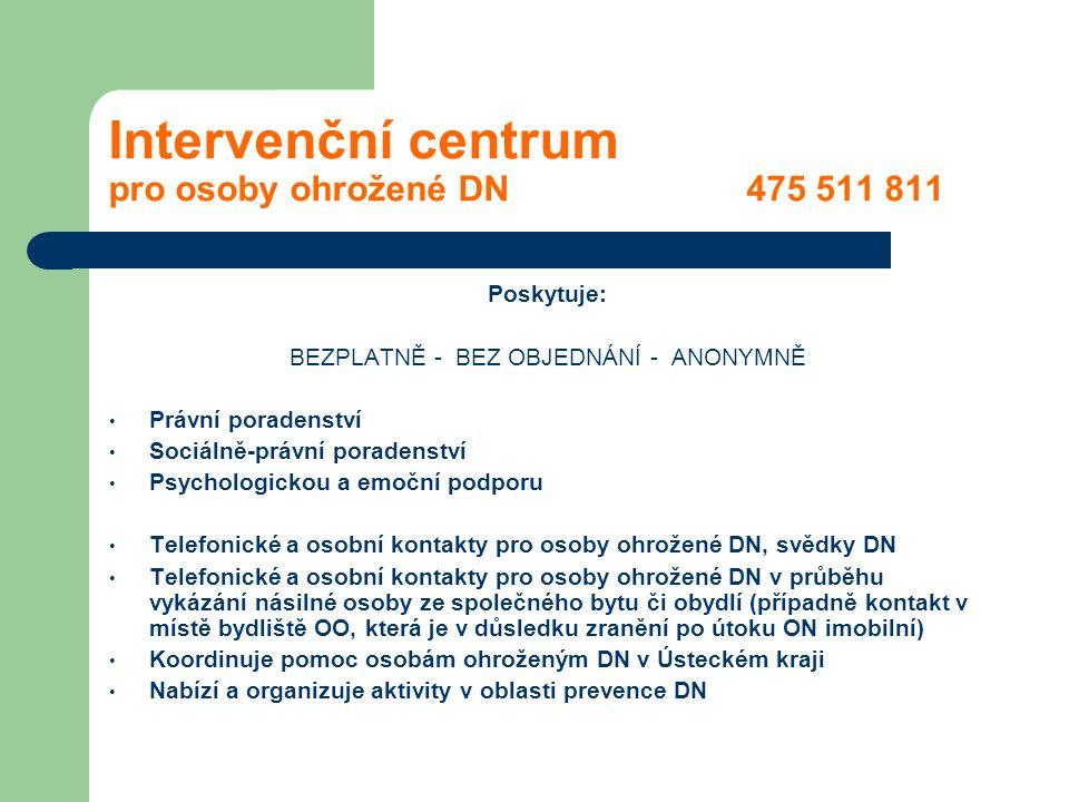 Intervenční centrum pro osoby ohrožené DN 475 511 811 Poskytuje: BEZPLATNĚ - BEZ OBJEDNÁNÍ - ANONYMNĚ Právní poradenství Sociálně-právní poradenství P
