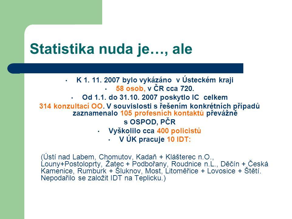 Statistika nuda je…, ale K 1. 11. 2007 bylo vykázáno v Ústeckém kraji 58 osob, v ČR cca 720. Od 1.1. do 31.10. 2007 poskytlo IC celkem 314 konzultací