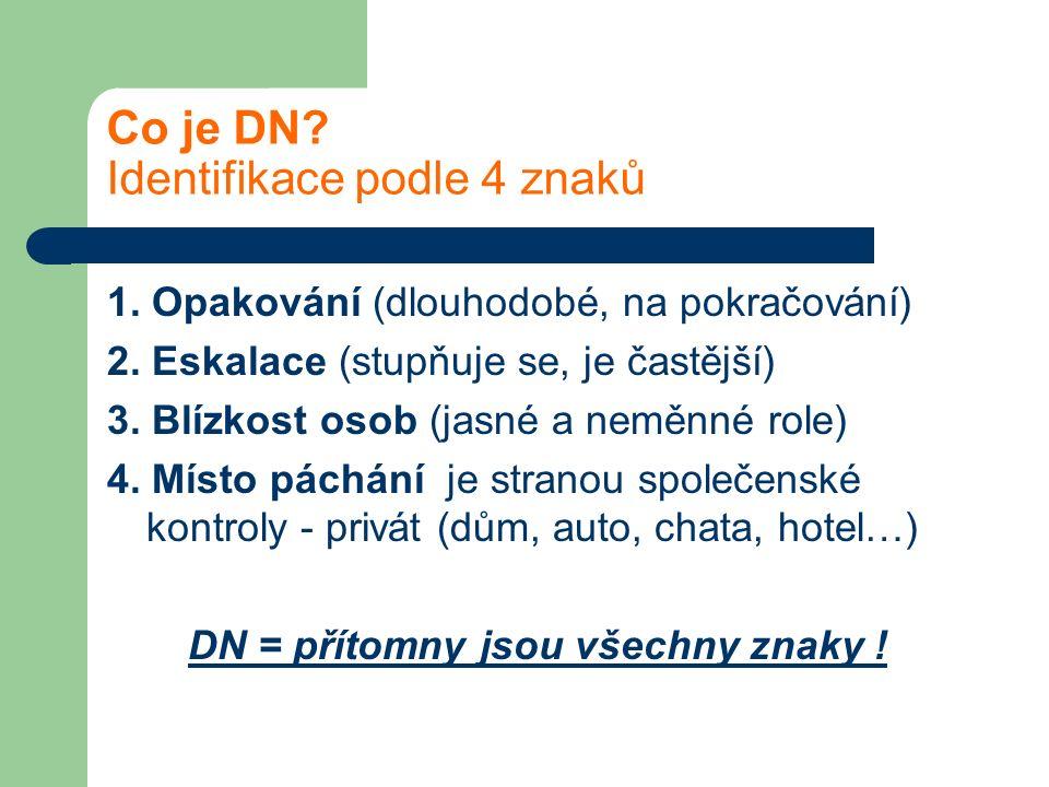 Co je DN? Identifikace podle 4 znaků 1. Opakování (dlouhodobé, na pokračování) 2. Eskalace (stupňuje se, je častější) 3. Blízkost osob (jasné a neměnn