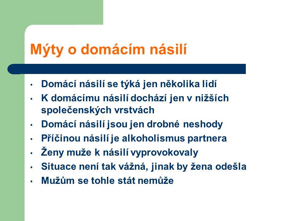 Mýty o domácím násilí Domácí násilí se týká jen několika lidí K domácímu násilí dochází jen v nižších společenských vrstvách Domácí násilí jsou jen dr