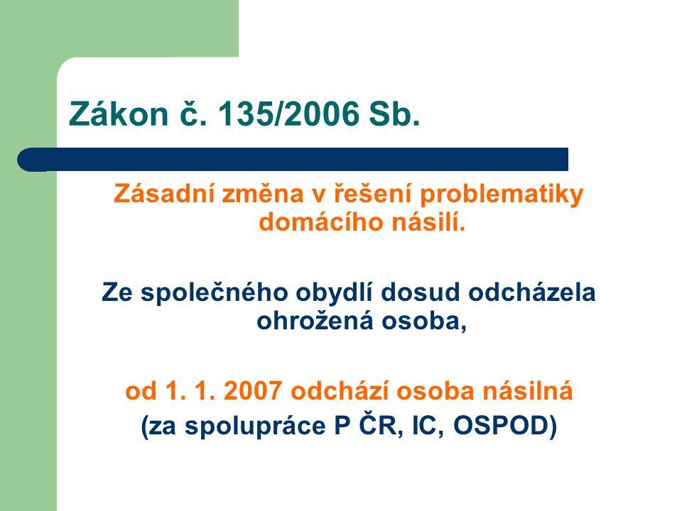 Zákon č. 135/2006 Sb. Zásadní změna v řešení problematiky domácího násilí. Ze společného obydlí dosud odcházela ohrožená osoba, od 1. 1. 2007 odchází