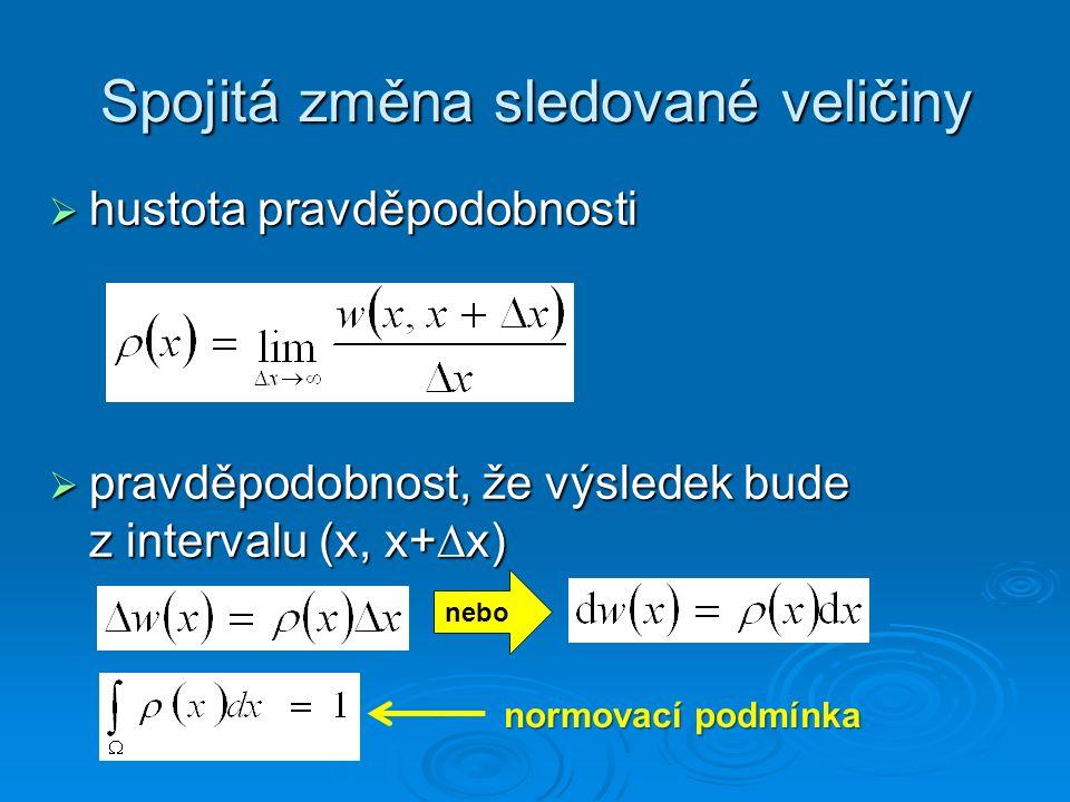 Spojitá změna sledované veličiny  hustota pravděpodobnosti  pravděpodobnost, že výsledek bude z intervalu (x, x+  x) nebo normovací podmínka