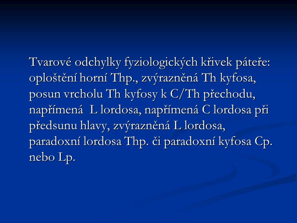 Tvarové odchylky fyziologických křivek páteře: oploštění horní Thp., zvýrazněná Th kyfosa, posun vrcholu Th kyfosy k C/Th přechodu, napřímená L lordosa, napřímená C lordosa při předsunu hlavy, zvýrazněná L lordosa, paradoxní lordosa Thp.