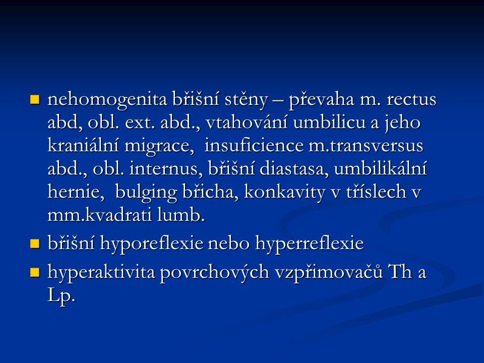 nehomogenita břišní stěny – převaha m.rectus abd, obl.