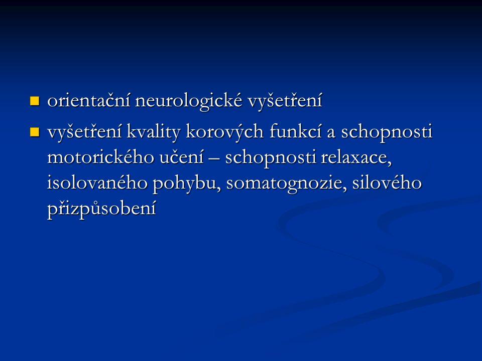 orientační neurologické vyšetření orientační neurologické vyšetření vyšetření kvality korových funkcí a schopnosti motorického učení – schopnosti relaxace, isolovaného pohybu, somatognozie, silového přizpůsobení vyšetření kvality korových funkcí a schopnosti motorického učení – schopnosti relaxace, isolovaného pohybu, somatognozie, silového přizpůsobení