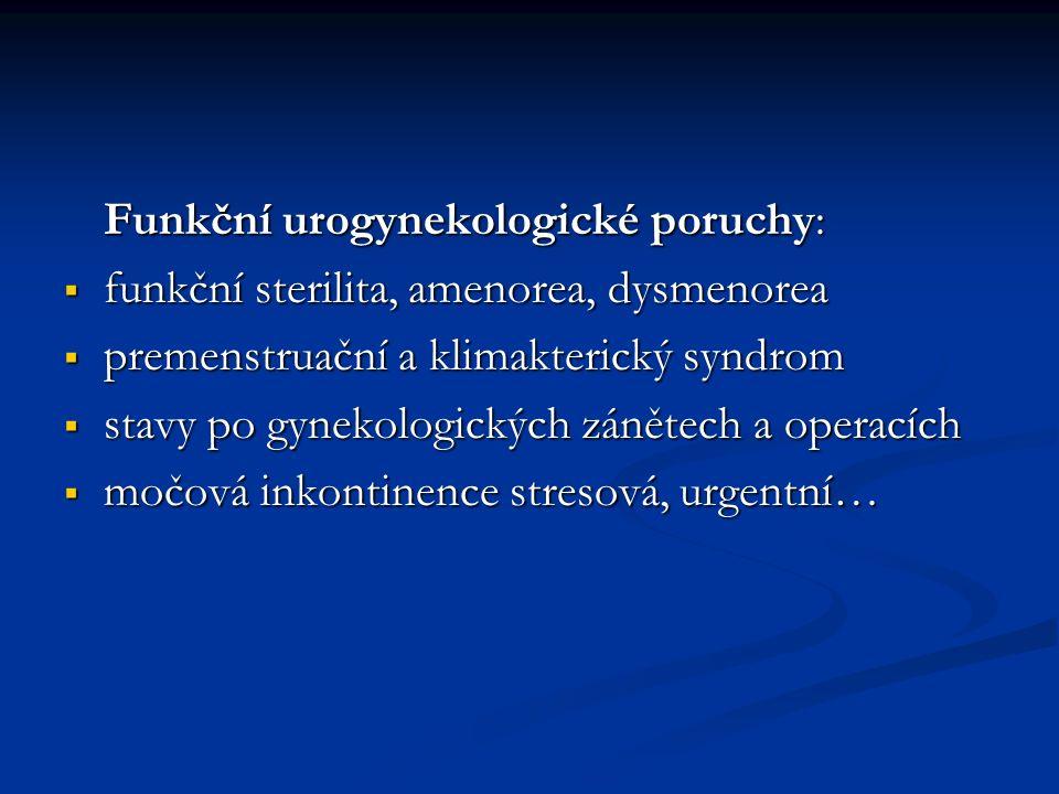 Funkční urogynekologické poruchy:  funkční sterilita, amenorea, dysmenorea  premenstruační a klimakterický syndrom  stavy po gynekologických zánětech a operacích  močová inkontinence stresová, urgentní…