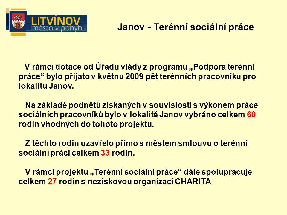 """Janov - Terénní sociální práce V rámci dotace od Úřadu vlády z programu """"Podpora terénní práce bylo přijato v květnu 2009 pět terénních pracovníků pro lokalitu Janov."""