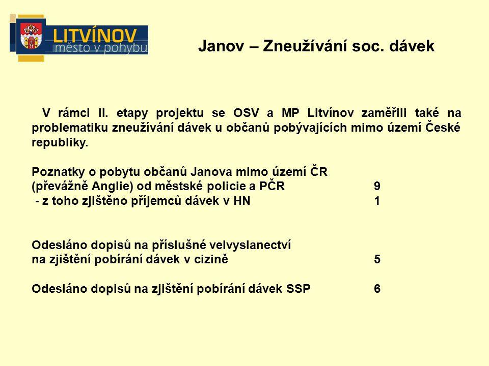 Janov – Zneužívání soc. dávek V rámci II.