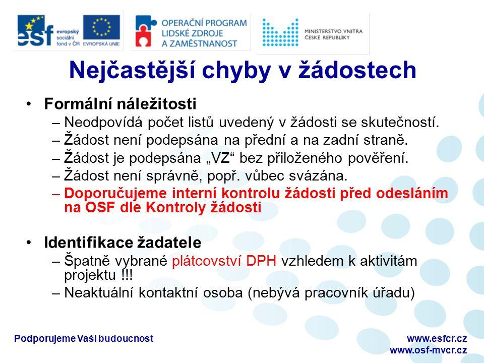 Podporujeme Vaši budoucnostwww.esfcr.cz www.osf-mvcr.cz Nejčastější chyby v žádostech Formální náležitosti –Neodpovídá počet listů uvedený v žádosti se skutečností.
