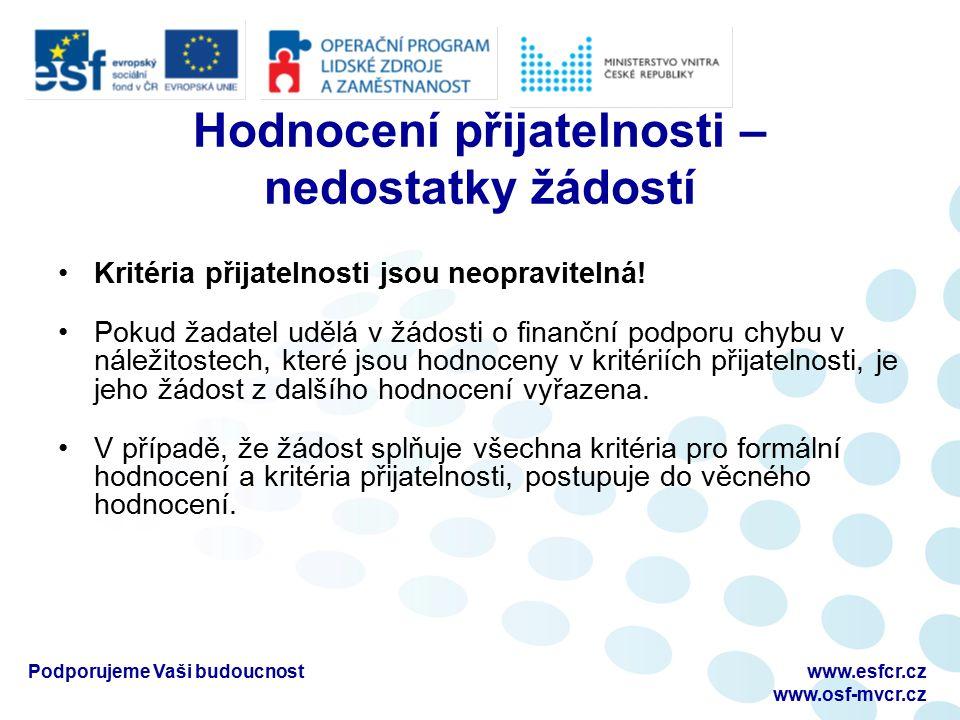 Podporujeme Vaši budoucnostwww.esfcr.cz www.osf-mvcr.cz Hodnocení přijatelnosti – nedostatky žádostí Kritéria přijatelnosti jsou neopravitelná.