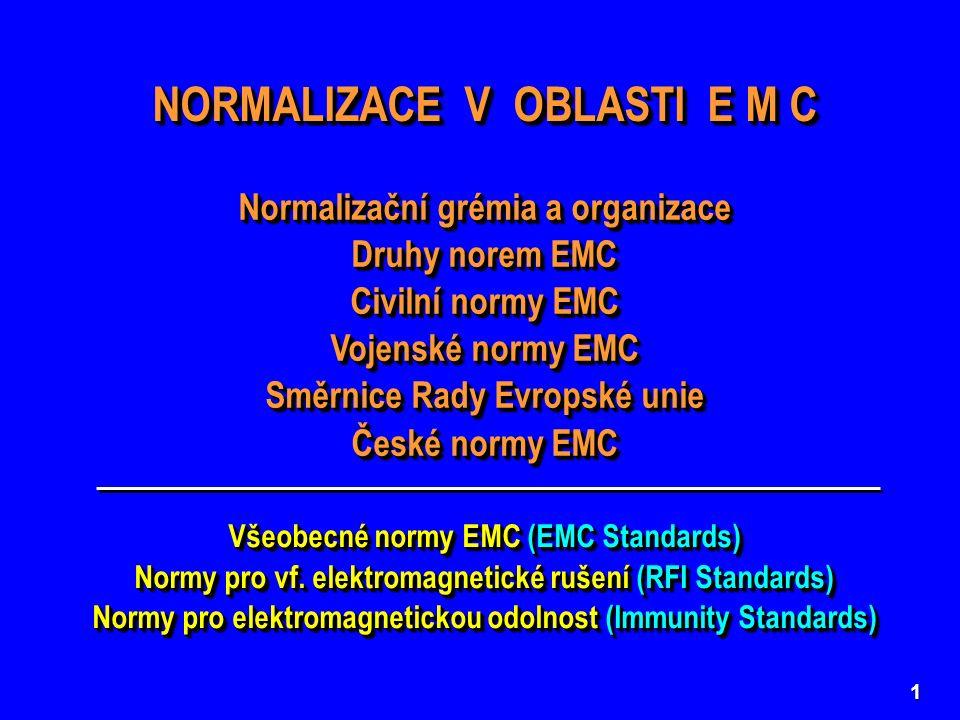 12 závazné (Mandatory Standards) závazné doporučené (Voluntary Standards) doporučené Civilní normy EMC  mají charakter zákona mají charakter doporučení  Směrnice Rady Evropské unie č.