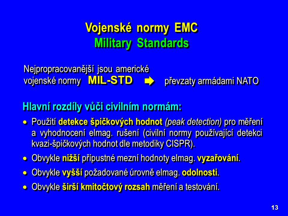13 Vojenské normy EMC Military Standards Vojenské normy EMC Military Standards Nejpropracovanější jsou americké vojenské normy MIL-STD  převzaty arm