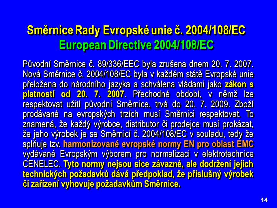 Směrnice byla v průběhu let upřesňována dalšími směrnicemi Rady Evropské unie 91/263/EEC, 92/31/EEC, 93/68/EEC, 93/97/EEC a později nahrazena novou směrnicí č.
