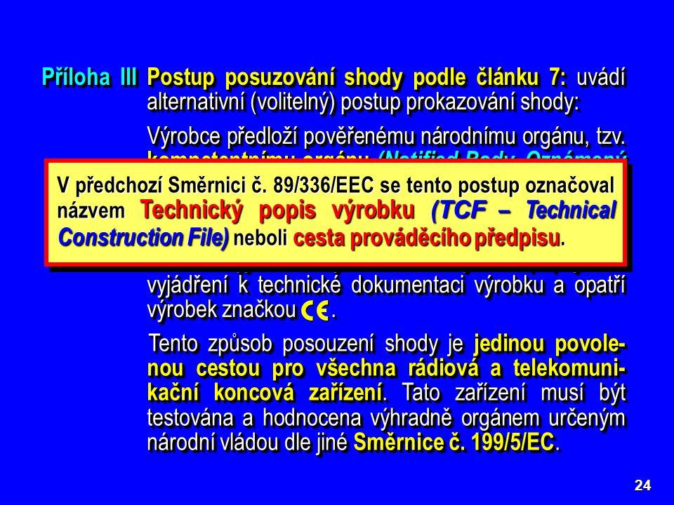 24 Příloha IIIPostup posuzování shody podle článku 7: uvádí alternativní (volitelný) postup prokazování shody: Výrobce předloží pověřenému národnímu o
