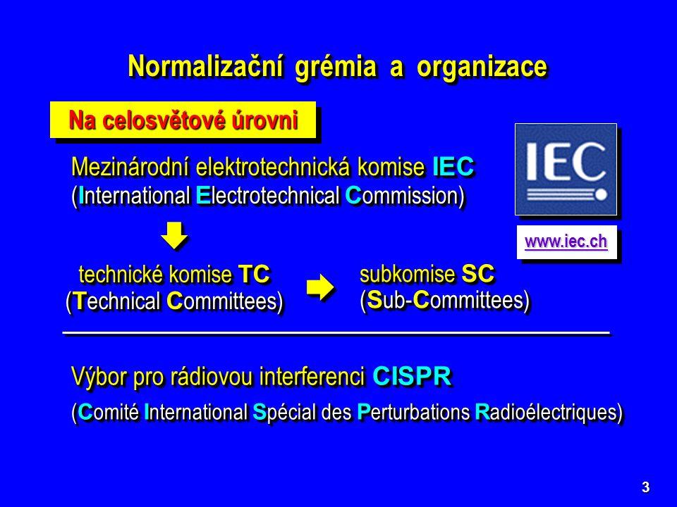 4 Mezinárodní organizace pro normalizaci ISO ( I nternational S tandard O rganization) Mezinárodní organizace pro normalizaci ISO ( I nternational S tandard O rganization) www.iso.ch Mezinárodní telekomunikační unie ITU ( I nternational T elecommunications U nion) Mezinárodní telekomunikační unie ITU ( I nternational T elecommunications U nion) www.itu.int Poradní výbory CCIR a CCIT se zabývají EMC v radiokomunikačních a telekomunikačních systémech a zařízeních  Doporučení série K Poradní výbory CCIR a CCIT se zabývají EMC v radiokomunikačních a telekomunikačních systémech a zařízeních  Doporučení série K