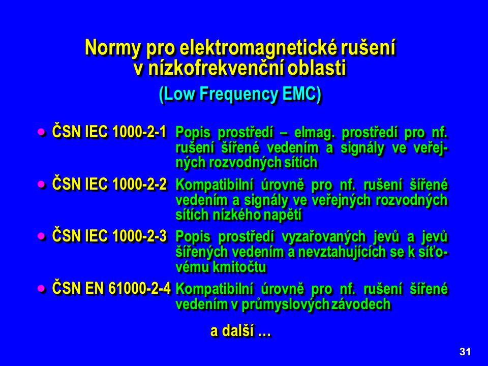 Normy pro elektromagnetické rušení v nízkofrekvenční oblasti (Low Frequency EMC) Normy pro elektromagnetické rušení v nízkofrekvenční oblasti (Low Frequency EMC) 31 Základní normy (Basic Standards) řady ČSN IEC 1000 a ČSN EN 61000 popisující elektromagnetické prostředí a stanovující obecné požadavky a kompatibilní úrovně nízkofrekvenčního rušení.