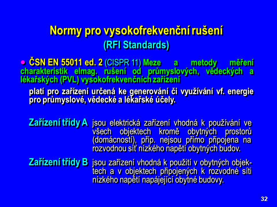 Normy pro vysokofrekvenční rušení (RFI Standards) Normy pro vysokofrekvenční rušení (RFI Standards) 32 Základní, kmenové i předmětové normy řady CISPR