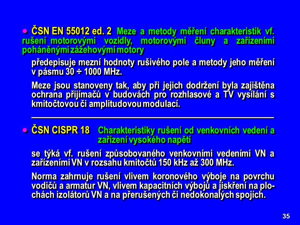 35  ČSN EN 55012 ed. 2 Meze a metody měření charakteristik vf.