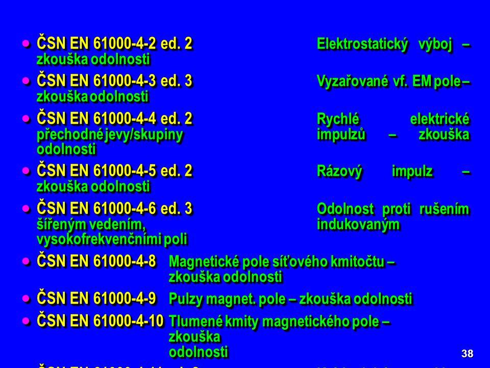  ČSN EN 61000-4-2 ed. 2 Elektrostatický výboj – zkouška odolnosti  ČSN EN 61000-4-3 ed.