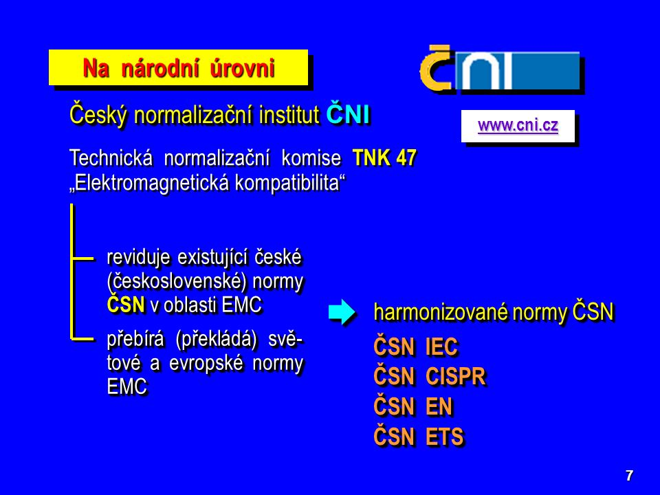 """7 Na národní úrovni Český normalizační institut ČNI Technická normalizační komise TNK 47 """"Elektromagnetická kompatibilita"""" reviduje existující české ("""