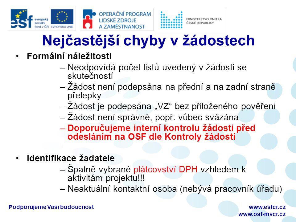 """Podporujeme Vaši budoucnostwww.esfcr.cz www.osf-mvcr.cz Nejčastější chyby v žádostech Formální náležitosti –Neodpovídá počet listů uvedený v žádosti se skutečností –Žádost není podepsána na přední a na zadní straně přelepky –Žádost je podepsána """"VZ bez přiloženého pověření –Žádost není správně, popř."""