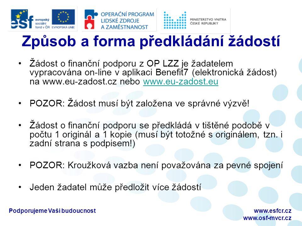 Podporujeme Vaši budoucnostwww.esfcr.cz www.osf-mvcr.cz Způsob a forma předkládání žádostí Žádost o finanční podporu z OP LZZ je žadatelem vypracována on-line v aplikaci Benefit7 (elektronická žádost) na www.eu-zadost.cz nebo www.eu-zadost.euwww.eu-zadost.eu POZOR: Žádost musí být založena ve správné výzvě.