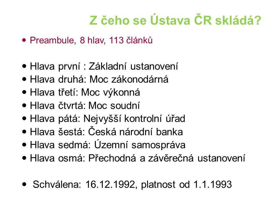 Z čeho se Ústava ČR skládá.