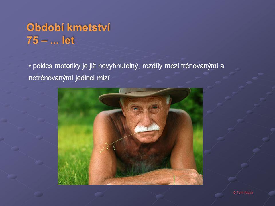 © Tom Vespa Období kmetství 75 –... let Období kmetství 75 –... let pokles motoriky je již nevyhnutelný, rozdíly mezi trénovanými a netrénovanými jedi