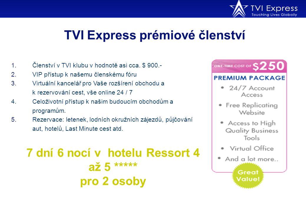 TVI Express prémiové členství 1.Členství v TVI klubu v hodnotě asi cca. $ 900.- 2.VIP přístup k našemu členskému fóru 3.Virtuální kancelář pro Vaše ro