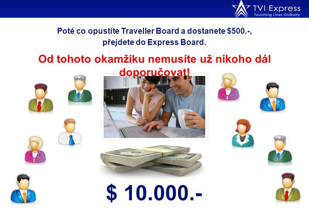 Poté co opustíte Traveller Board a dostanete $500.-, přejdete do Express Board. Od tohoto okamžiku nemusíte už nikoho dál doporučovat! $ 10.000.- Poku