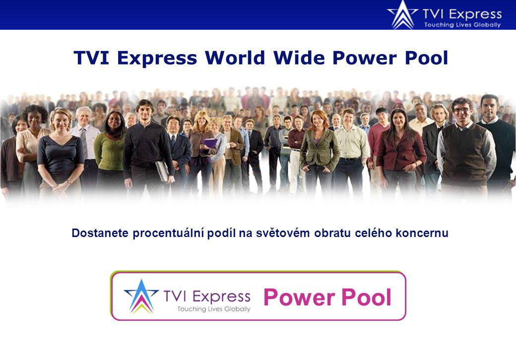 Dostanete procentuální podíl na světovém obratu celého koncernu TVI Express World Wide Power Pool Power Pool