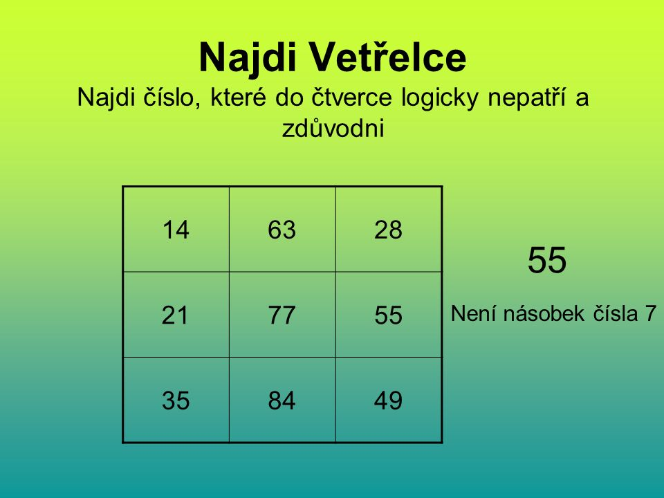 Najdi Vetřelce Najdi číslo, které do čtverce logicky nepatří a zdůvodni 146328 217755 358449 55 Není násobek čísla 7