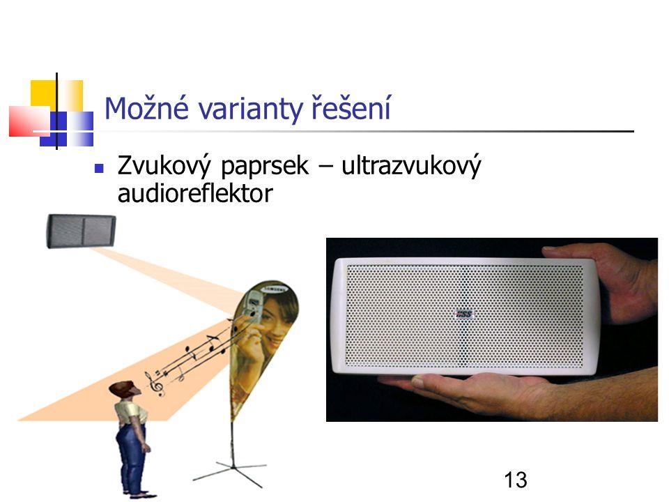 13 Možné varianty řešení Zvukový paprsek – ultrazvukový audioreflektor