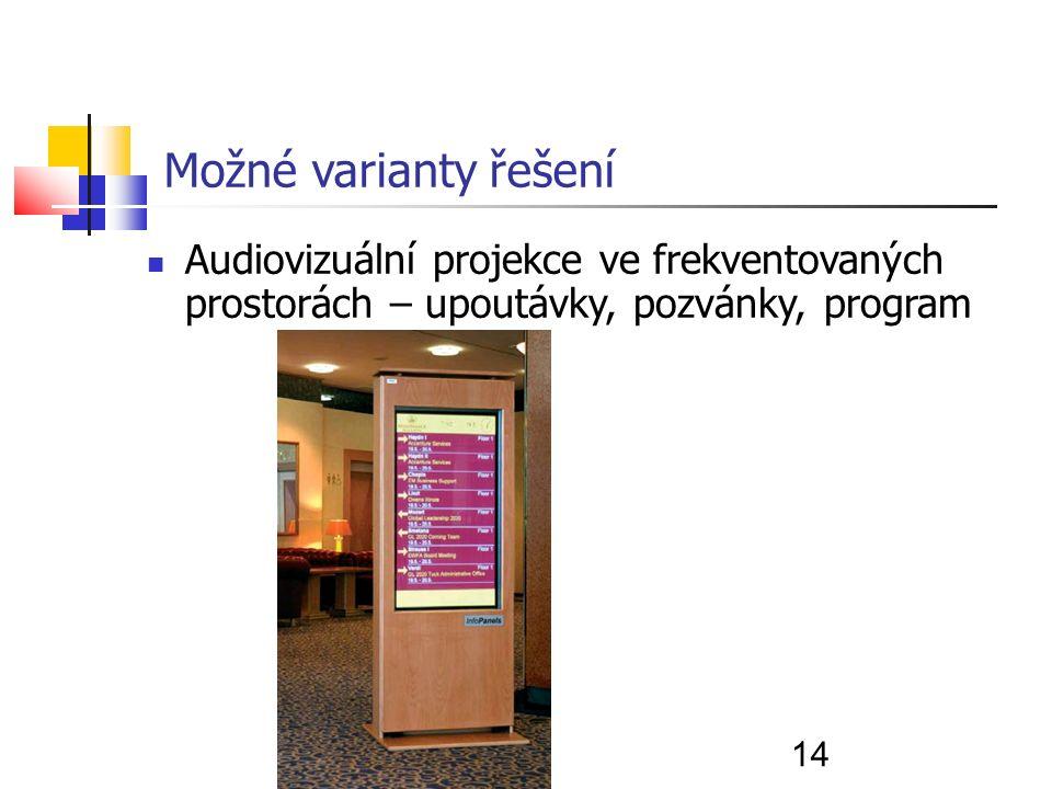 14 Možné varianty řešení Audiovizuální projekce ve frekventovaných prostorách – upoutávky, pozvánky, program