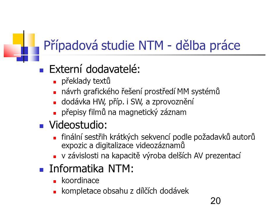 20 Případová studie NTM - dělba práce Externí dodavatelé: překlady textů návrh grafického řešení prostředí MM systémů dodávka HW, příp.