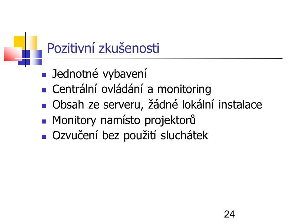 24 Pozitivní zkušenosti Jednotné vybavení Centrální ovládání a monitoring Obsah ze serveru, žádné lokální instalace Monitory namísto projektorů Ozvučení bez použití sluchátek