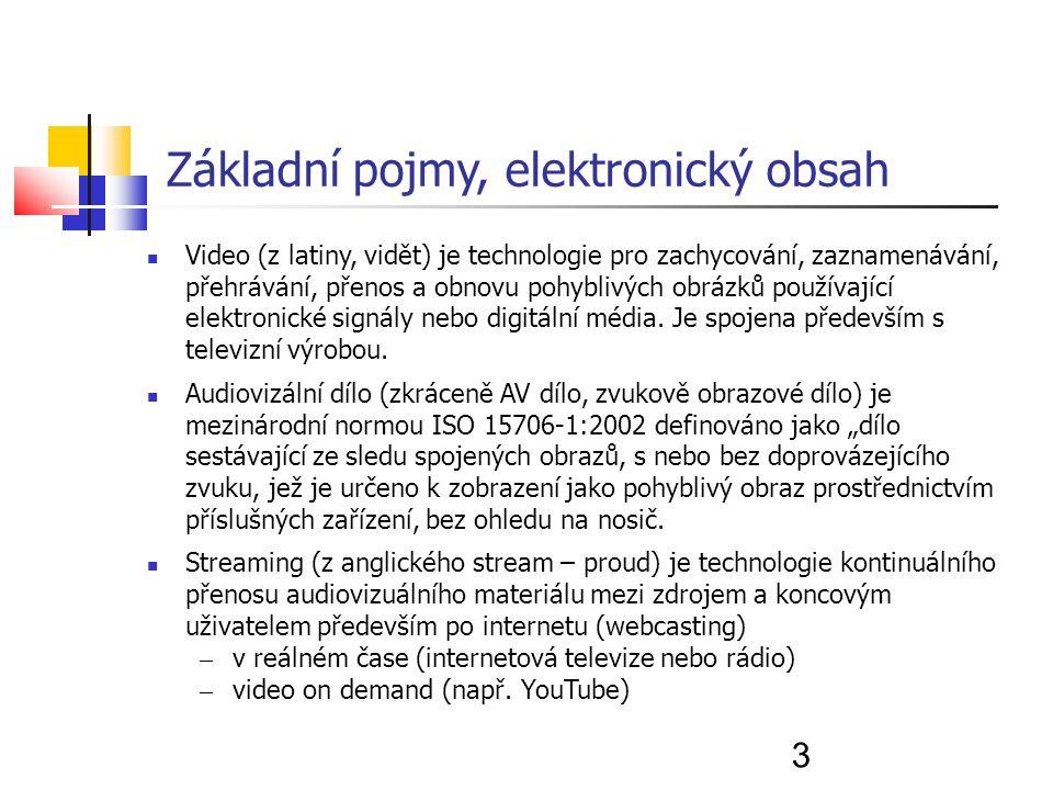 3 Základní pojmy, elektronický obsah Video (z latiny, vidět) je technologie pro zachycování, zaznamenávání, přehrávání, přenos a obnovu pohyblivých obrázků používající elektronické signály nebo digitální média.